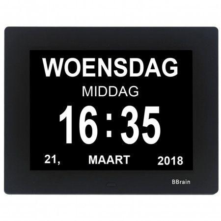 BBrain Basic - Digitale Dementieklok met dag en datum en dagdeel zwart