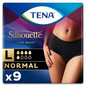 TENA Silhouette Normal - Low Waist - Noir - Large - 9 stuks