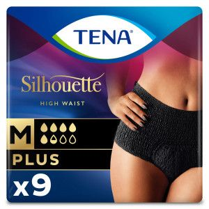 TENA Silhouette Plus - High Waist - Noir - Medium 9 stuks
