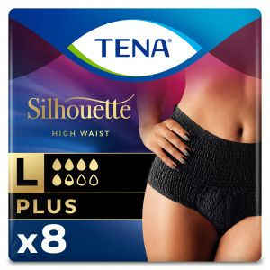 TENA Silhouette Plus - High Waist - Noir - Large - 8 stuks